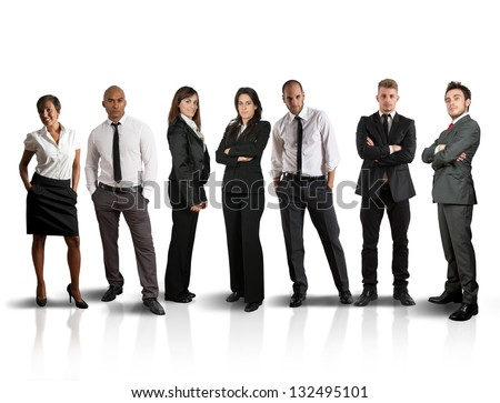 Concept of global business team on white background - stock photo
