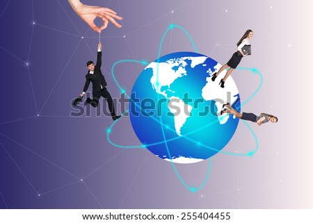 Concept of global business team with businesspeople over the world - stock photo