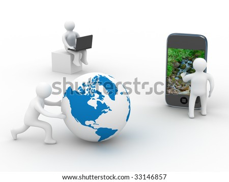 concept of global communication. Isolated 3D image
