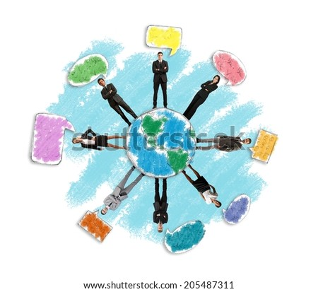 Concept of global social network with businessperson - stock photo