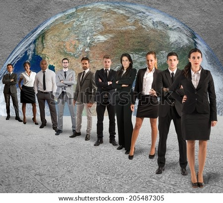 Concept of global support team with a company team - stock photo