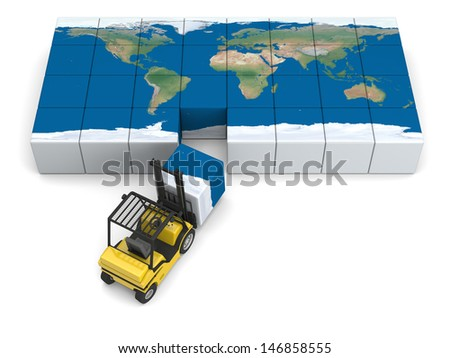 Concept of global transportation, modern yellow forklift carrying piece of global map, isolated on white background. Elements of this image furnished by NASA. - stock photo