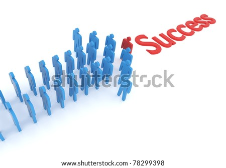 Concept of good leadership pointing toward success. A 3D rendering.