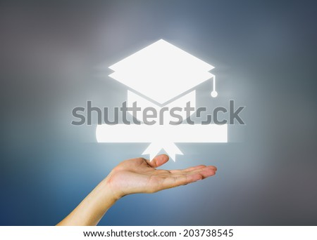 Concept of graduation in dark background. - stock photo