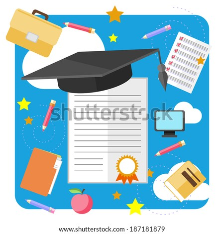 Concept of graduation with cap and certificate with seal - stock photo