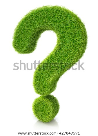 Concept of grassed question symbol in the design of information related to the faq. 3d illustration - stock photo