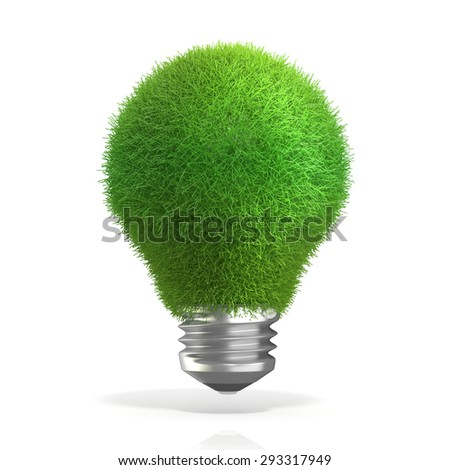 Concept of green energy. Grass on light bulb. 3D render isolated on white background