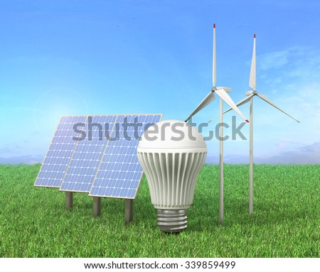 Concept of green energy. Wind tower, LED light bulb and solar energy panel in a grass. - stock photo