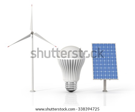 Concept of green energy. Wind tower, LED light bulb and solar energy panel isolated on a white background. - stock photo