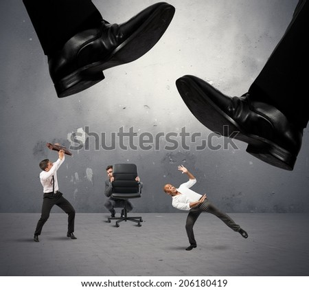 Concept of group of manager crushed by taxes - stock photo