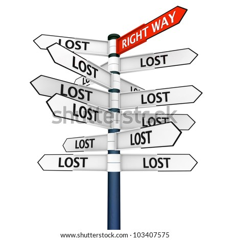 Concept of guidance and help, crossroads sign with pointers showing lost in every direction except one highlighted , which is the right way to go