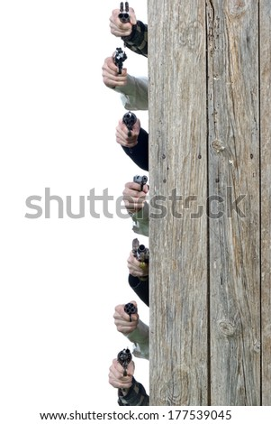 concept of hand pistol on white background - stock photo