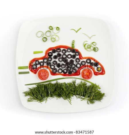 Concept of healthy food - vegetables plate. Ecology car.