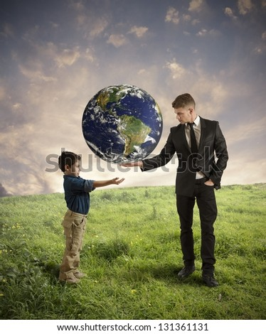 Concept of help new generation from pollution (earth provided by Nasa) - stock photo