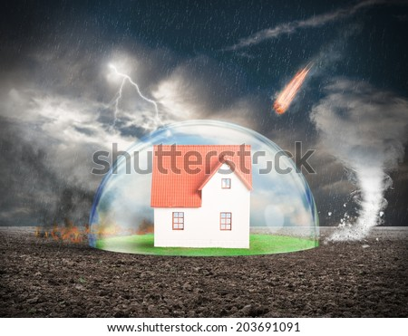 Concept of home protection insurance with crystal sphere - stock photo