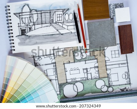 Concept of  home renovation with architecture /interior drawing and material sample background - stock photo