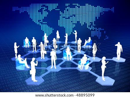 Concept of how people connected via internet as a social or business networking activities. - stock photo