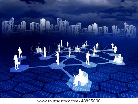 Concept of how people from around the world connected in a social or business network inside the internet. - stock photo