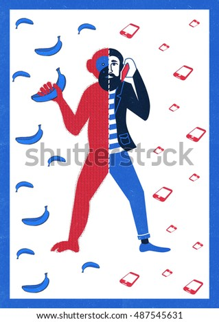 concept human evolution ape man development stock illustration