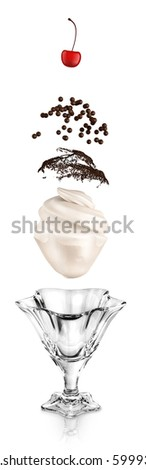 Concept of  ice cream creation. Flying ingredients of dessert isolated on white. - stock photo