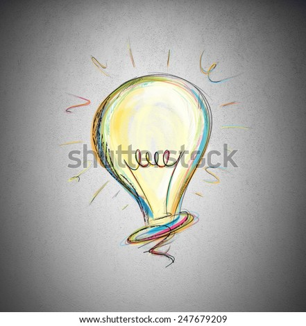 Concept of idea in a light bulb - stock photo