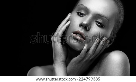Concept of ideal beauty - platinum perfect woman portrait