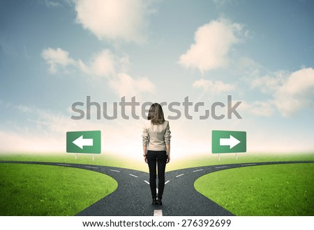 Concept of important choices of a businesswoman - stock photo