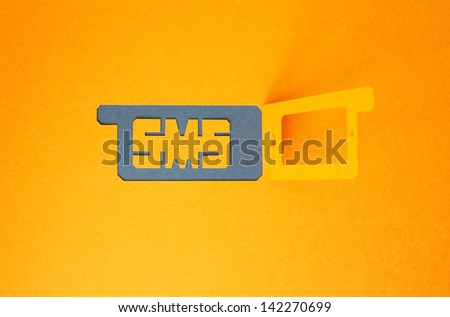 concept of incoming sms on the mobile phone - stock photo
