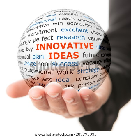Concept of innovative ideas in business. Words on the transparent ball in the hand - stock photo