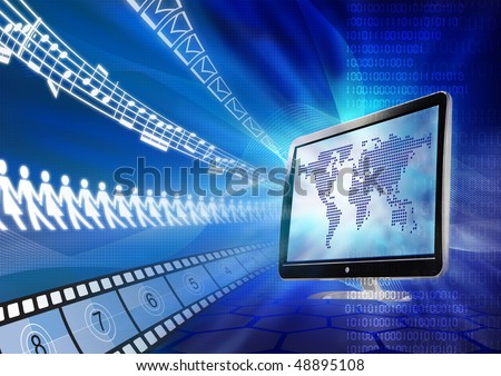 Concept of internet as a multimedia sharing portal for message, friend, video and song. - stock photo