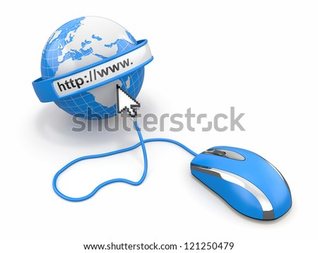 Concept of internet browser. Earth, cursor and computer mouse. 3d - stock photo