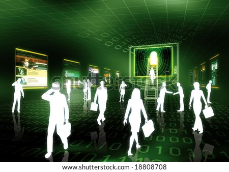 Concept of internet business illustrated with people doing business in futuristic virtual world. - stock photo