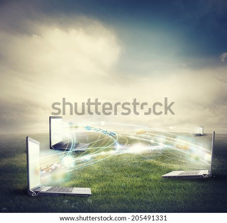 Concept of internet connection and social network - stock photo