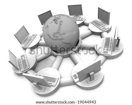 Concept of internet. 3d - stock photo