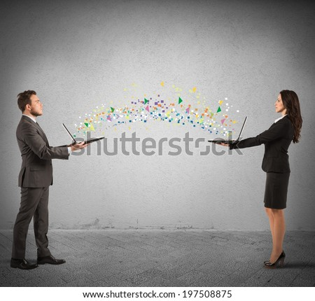 Concept of internet sharing with conncetion from laptop - stock photo