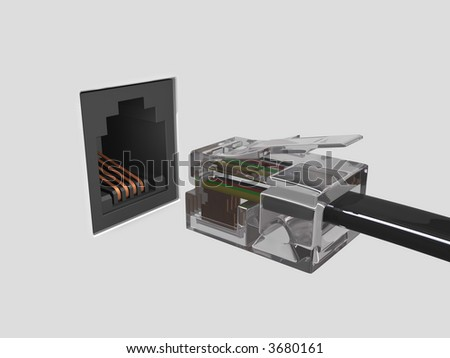 Concept of internet using the Virtual 3D Cable. - stock photo