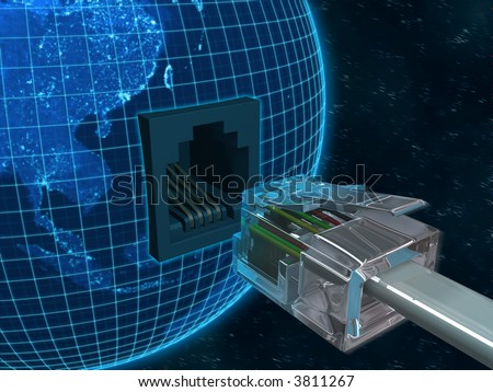 Concept of internet using the Virtual 3D Cable connecting with Planet Earth. - stock photo
