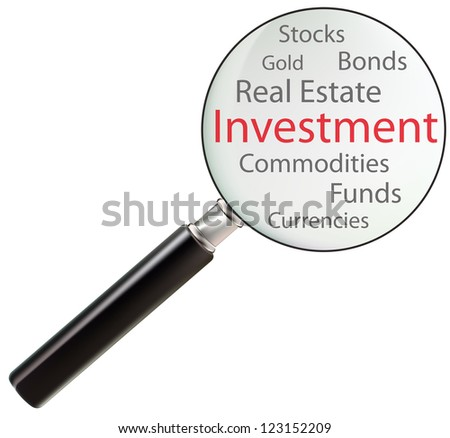 Concept of investment consists of real estate, commodities, currencies, stocks, bonds, funds and gold