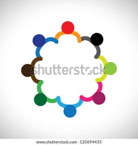 Concept of kids playing, teamwork and diversity. The graphic contains children holding hands & forming a circle. This can also represent concept of corporate team and teamwork & also people diversity - stock photo
