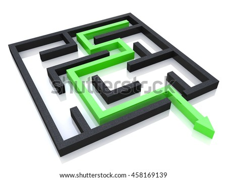 Concept of labyrinth in the design of access to information relating to the business. 3d illustration