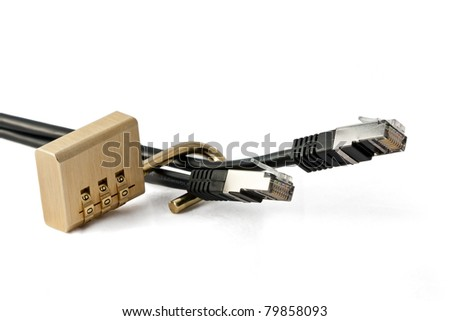 Concept of LAN Security lock (unsafe) - stock photo