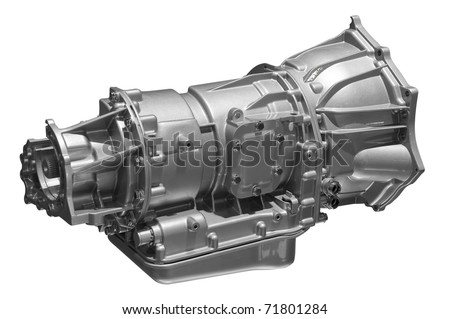 Concept of land vehicle transmission box isolated on white background. Clipping path included. - stock photo