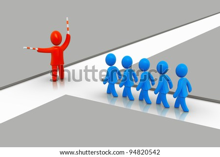 Concept of leadership, decision and strategy/This way - stock photo
