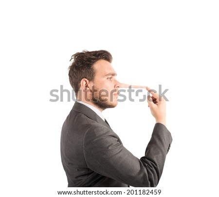 Concept of lie with businessman with long nose - stock photo