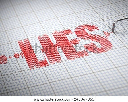 Concept of lies. Lie detector with text. 3d - stock photo
