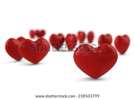 Concept of loneliness, one heart separated from the rest. - stock photo