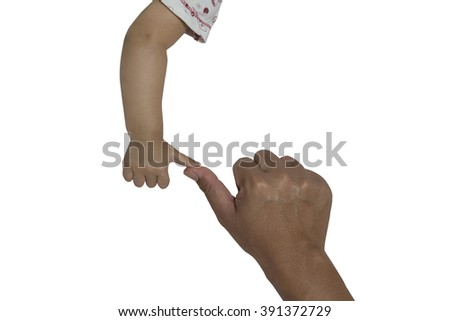 concept of love and family. hands of father and baby closeup - stock photo