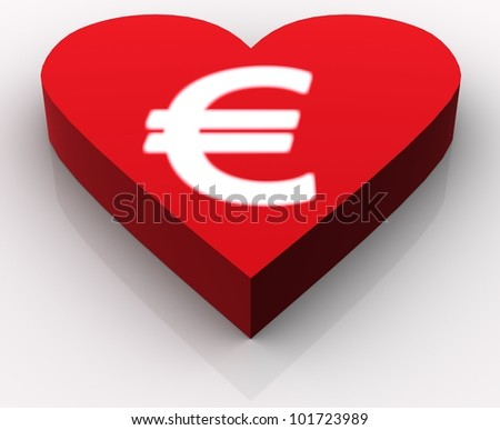 Concept of love for Euro or money generally. Idea is portrayed by white glowing euro rendered on the top of red heart. Scene rendered and isolated on white background with slight reflection. - stock photo