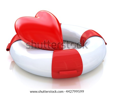 Concept of love relationships: heart and life buoy on white background in the design of the information associated with love. 3d illustration - stock photo