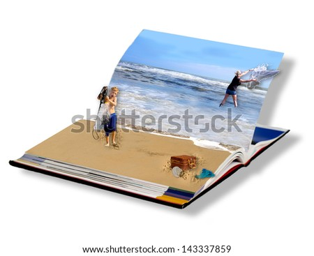 Concept of magical Book opened up with people seemingly come to life -Ocean image of young boy helping his mother net fishing with casting nets.